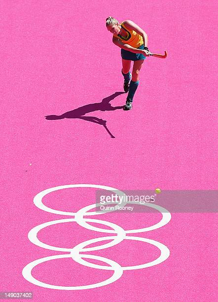 Jodie Schulz of the Australian Women's Hockey team warm ups at Riverbank Arena on July 22 2012 in London England