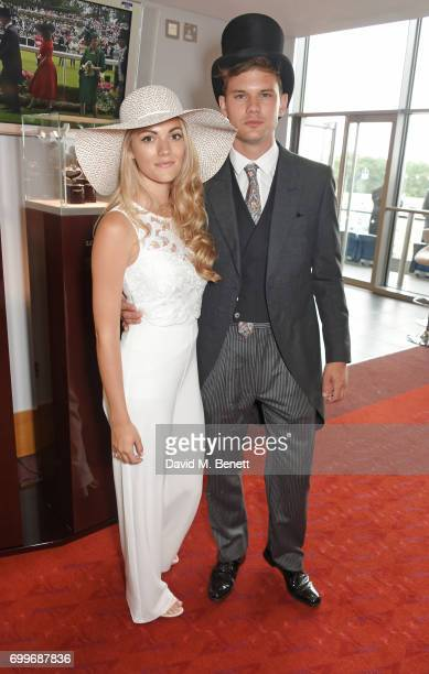 Jodie Spencer and Jeremy Irvine attend the Longines suite in the Royal Enclosure during Royal Ascot on June 22 2017 in Ascot England