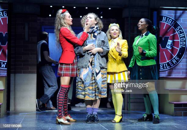 Jodie Steele as Heather ChandlerCarrie Hope Fletcher as Veronica Sawyer Sophie Isaacs as Heather McNamara and T'Shan Williams as Heather Duke in the...