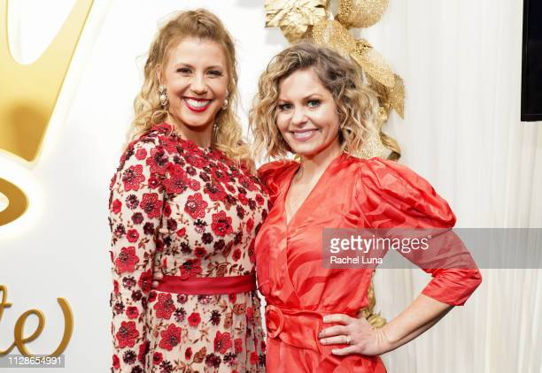 Jodie Sweetin and Candace Cameron Bure attend Hallmark Channel And Hallmark Movies And Mysteries 2019 Winter TCA Tour at Tournament House on February...