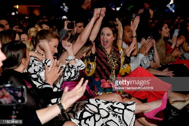 Jodie Sweetin, Candace Cameron Bure and Andrea Barber win the Favorite Funny TV Show award at Nickelodeon's 2019 Kids' Choice Awards at Galen Center...