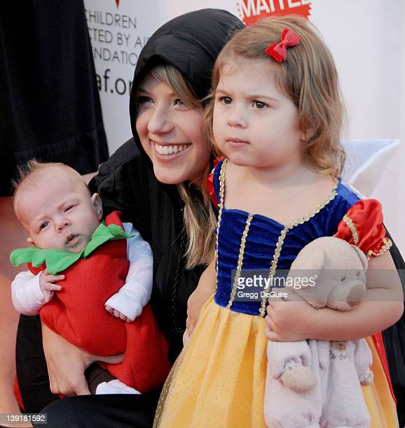 Jodie Sweetin daughter Beatrix Carlin Sweetin Coyle and daughter Zoie Laurelmae Herpin arrive at the 17th Annual Dream Halloween event at Barker...