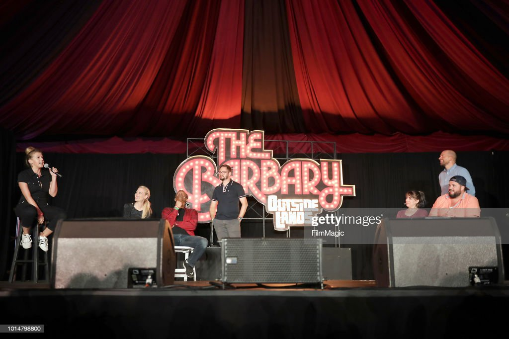 Jodie Sweetin, Janet Varney, Phil LaMarr, Cole Stratton, Eliza Skinner and Paul Scheer perform on The Barbary Stage during the 2018 Outside Lands Music And Arts Festival at Golden Gate Park on August 10, 2018 in San Francisco, California.