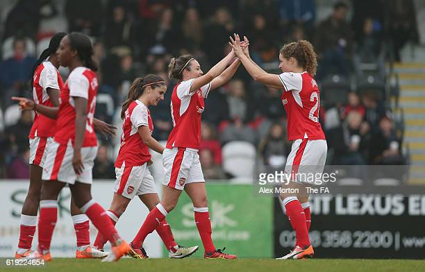 Jodie Talor of Arsenal celebrates after scoring their second goal during the WSL 1 match between Arsenal Ladies FC and Doncaster Rovers Belles at...