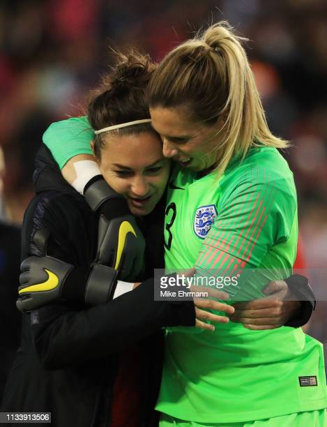 Jodie Taylor and Carly Telford of England celebrate victory after the 2019 SheBelieves Cup match between England and Japan at Raymond James Stadium...