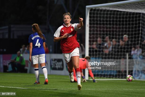 Jodie Taylor celebrates scoring Arsenal's 1st goal during the match between Arsenal Women and Everton Ladies at Meadow Park on August 31 2017 in...