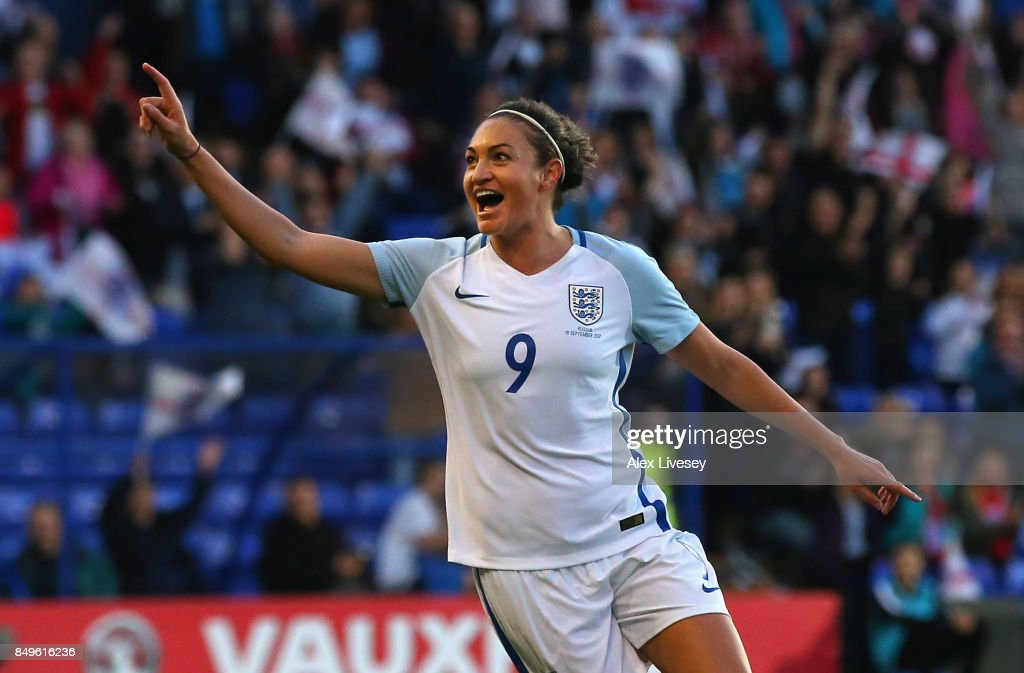 Jodie Taylor of England celebrates after scoring the second goal during the FIFA Women's World Cup Qualifier between England and Russia at Prenton Park on September 19, 2017 in Birkenhead, England.