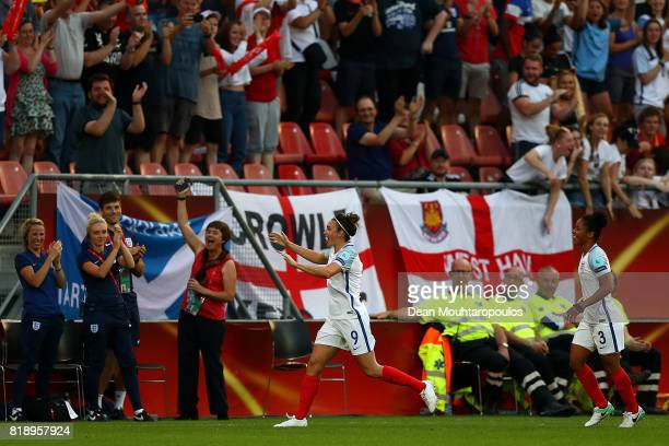 Jodie Taylor of England celebrates after she scores the first goal of the game during the UEFA Women's Euro 2017 Group D match between England and...
