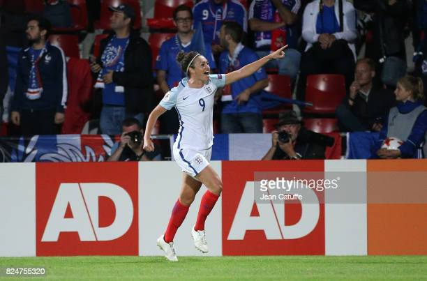 Jodie Taylor of England celebrates the winning goal during the UEFA Women's Euro 2017 quarter final match between England and France at Stadion De...