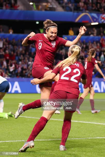 Jodie Taylor of England celebrates with Beth Mead of England after scoring a goal to make it 10 during the 2019 FIFA Women's World Cup France group D...