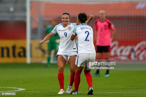 Jodie Taylor of England celebrates with Lucia Bronze after she scores the second goal of the game during the UEFA Women's Euro 2017 Group D match...