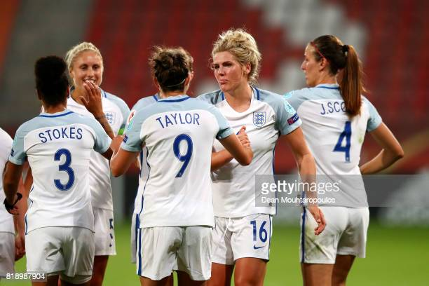 Jodie Taylor of England celebrates with Millie Bright after scoring her hatrick and the teams fourth goal during the UEFA Women's Euro 2017 Group D...
