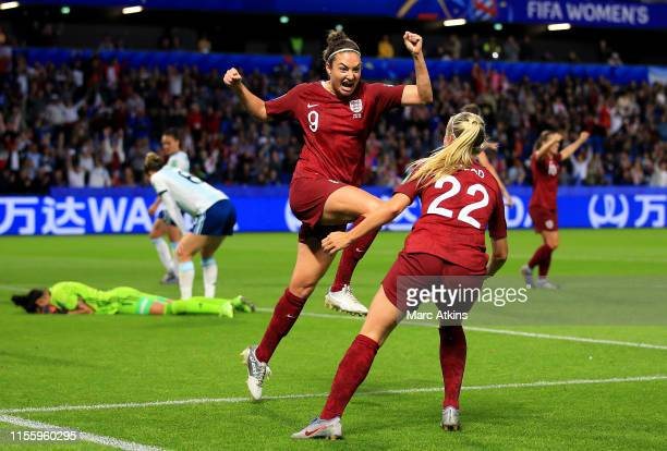 Jodie Taylor of England celebrates with teammate Beth Mead after scoring her team's first goal during the 2019 FIFA Women's World Cup France group D...
