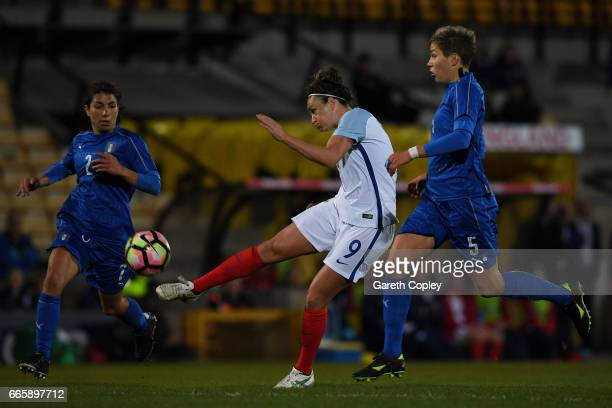 Jodie Taylor of England scores the opening goal during the Women's International friendly match between England and Italy at Vale Park on April 7...