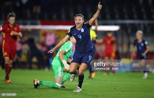 Jodie Taylor of England Women celebrates after scoring a goal to make it 20 during the UEFA Women's Euro 2017 match between England and Spain at Rat...