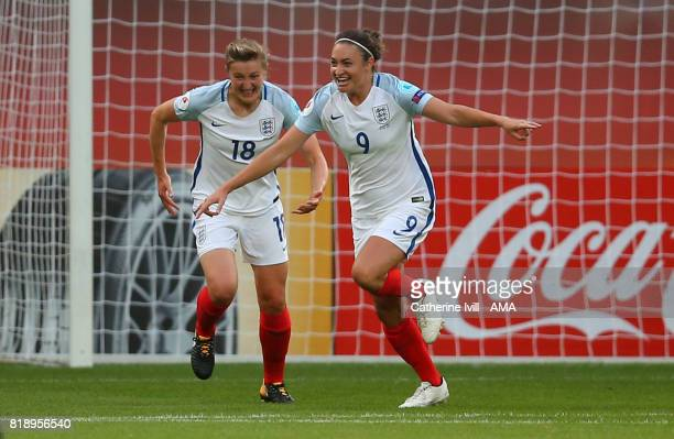 Jodie Taylor of England Women celebrates after scoring to make it 10 with Ellen White of England Women during the UEFA Women's Euro 2017 match...