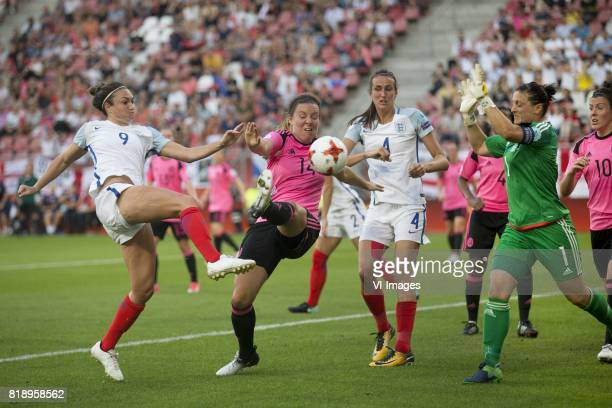 Jodie Taylor of England women Rachel Corsie of Scotland women Jill Scott of England women goalkeeper Gemma Fay of Scotland women during the UEFA...