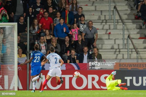 Jodie Taylor of England women scores Grace Geyoro of France women Lucia Bronze of England women goalkeeper Sarah Bouhaddi of France women during the...