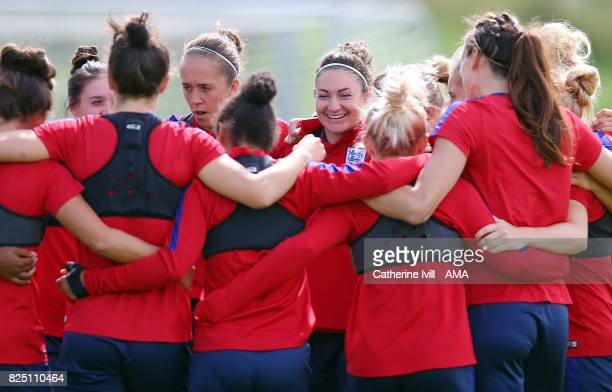 Jodie Taylor of England Women stands in the huddle during the England Training Session in Utrecht on August 1 2017 in Utrecht Netherlands