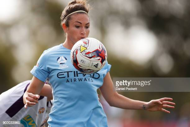 Jodie Taylor of Melbourne City controls the ball during the round ten WLeague match between Melbourne City and Perth Glory at City Football Academy...