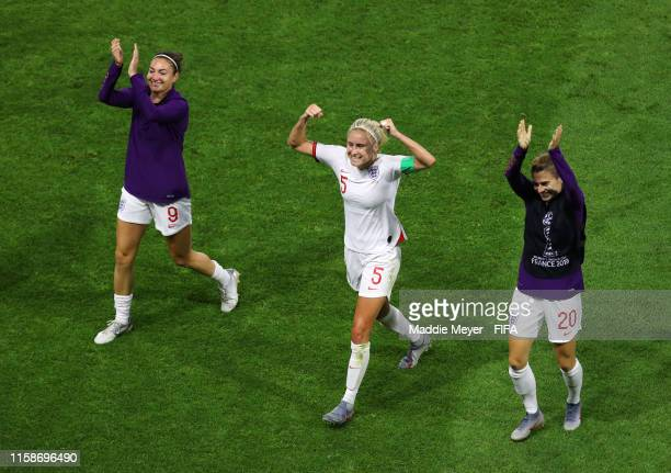Jodie Taylor Steph Houghton and Karen Carney of England celebrate following their sides victory in the 2019 FIFA Women's World Cup France Quarter...