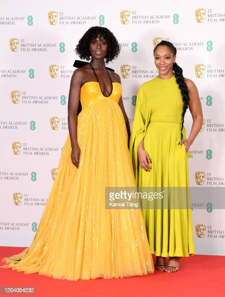 Jodie TurnerSmith and Naomi Ackie pose in the Winners Room during the EE British Academy Film Awards 2020 at Royal Albert Hall on February 02 2020 in...
