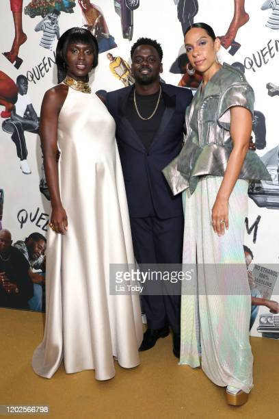 Jodie TurnerSmith Daniel Kaluuya and Melina Matsoukas attend the Queen Slim UK Premiere at Rich Mix Cinema on January 28 2020 in London England
