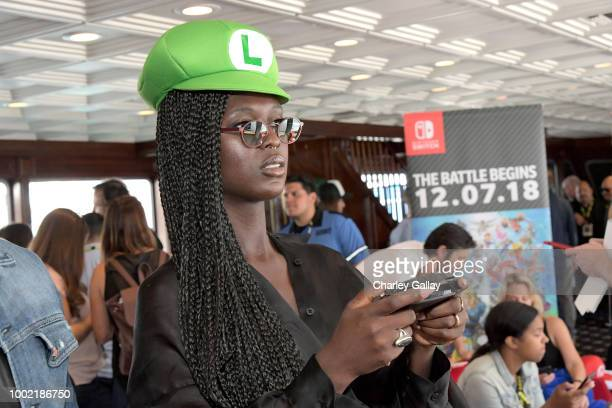 Jodie TurnerSmith tests her skills on Super Smash Bros Ultimate for Nintendo Switch at the Variety Studio at ComicCon 2018 on July 19 2018 in San...