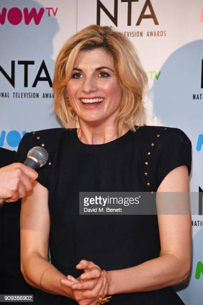 Jodie Whittaker accepting the Best Crime Drama award for 'Broadchurch' poses in the press room at the National Television Awards 2018 at The O2 Arena...