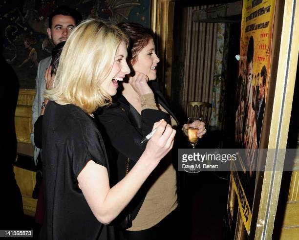 Jodie Whittaker and Gemma Arterton attend a private screening of Dexter Fletcher's directorial debut 'Wild Bill' hosted by chef Jamie Oliver at The...