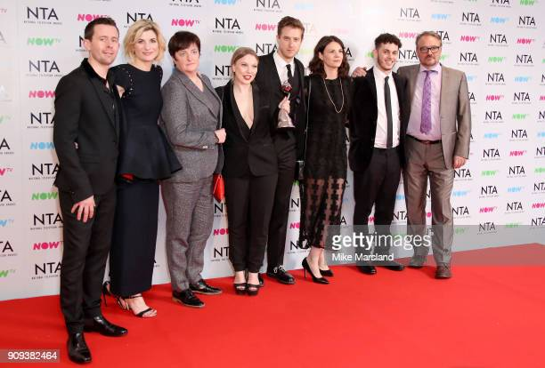 Jodie Whittaker and guests pose with the Crime Drama award for 'Broadchurch' at the National Television Awards 2018 at The O2 Arena on January 23...