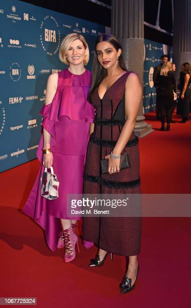 Jodie Whittaker and Mandip Gill attend the 21st British Independent Film Awards at Old Billingsgate on December 2 2018 in London England