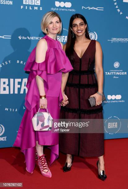Jodie Whittaker and Mandip Gill attend the 21st British Independent Film Awards at Old Billingsgate on December 02 2018 in London England
