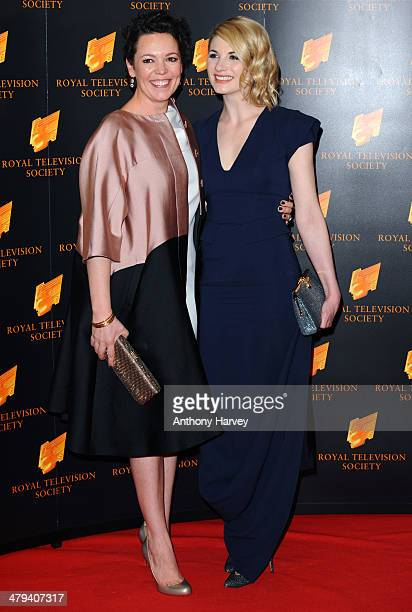 Jodie Whittaker and Olivia Colman attend the RTS programme awards at Grosvenor House on March 18 2014 in London England