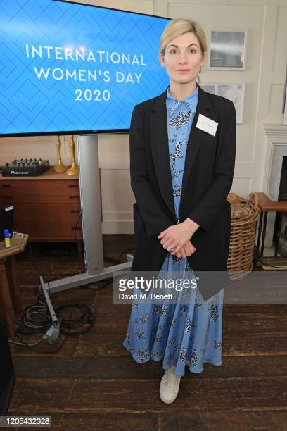 Jodie Whittaker attends a drinks reception at Soho House to celebrate the announcement of a brand-new childcare facility at Warner Bros. Studios...