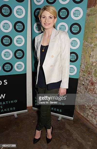 Jodie Whittaker attends a drinks reception celebrating the Birds Eye View opening night gala screening of 'In Bloom' at Bargehouse on April 8 2014 in...