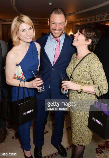 Jodie Whittaker Dominic West and Olivia Colman attend the South Bank Sky Arts awards at the Dorchester Hotel on January 27 2014 in London England