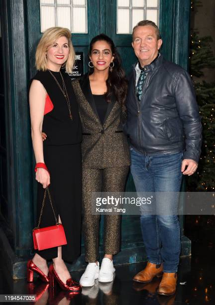 Jodie Whittaker Mandip Gill and Bradley Walsh attend a photocall for the new series launch of Doctor Who at BFI Southbank on December 17 2019 in...