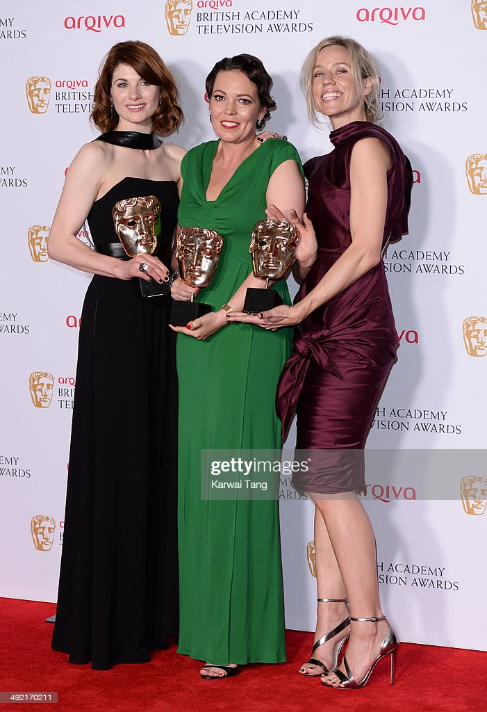 Jodie Whittaker, Olivia Colman and Simone McAullay with the Drama Series Award for Broadchurch, at the Arqiva British Academy Television Awards held at the Theatre Royal on May 18, 2014 in London, England.