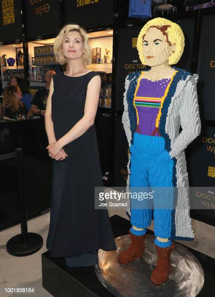 Jodie Whittaker poses with lego figure at BBC America's 'Doctor Who' at ComicCon International 2018 at San Diego Convention Center on July 19 2018 in...