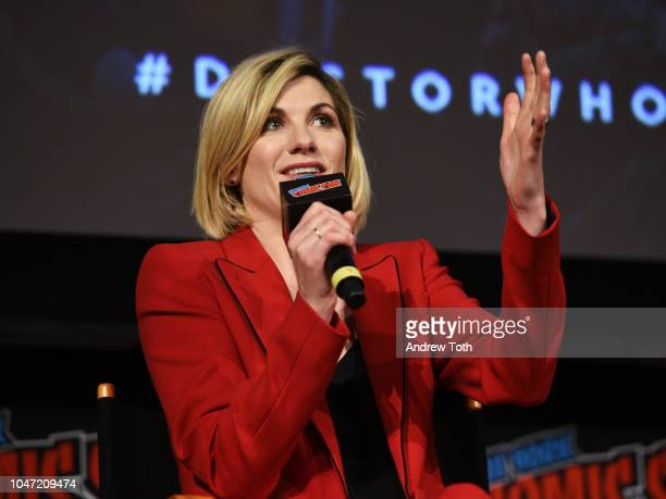 Jodie Whittaker speaks onstage at the DOCTOR WHO panel during New York Comic Con in The Hulu Theater at Madison Square Garden on October 7, 2018 in...