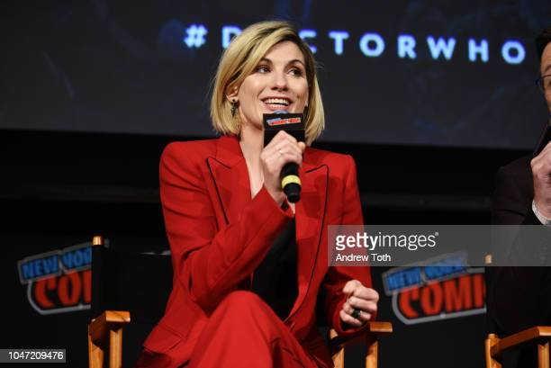 Jodie Whittaker speaks onstage at the DOCTOR WHO panel during New York Comic Con in The Hulu Theater at Madison Square Garden on October 7 2018 in...