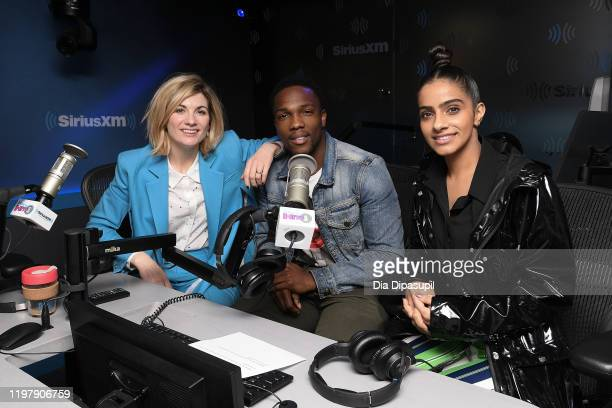 Jodie Whittaker Tosin Cole and Mandip Gill visit SiriusXM Studios on January 06 2020 in New York City