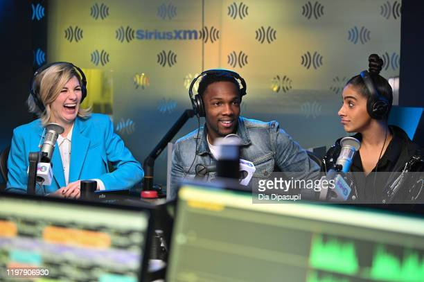 Jodie Whittaker, Tosin Cole, and Mandip Gill visit SiriusXM Studios on January 06, 2020 in New York City.
