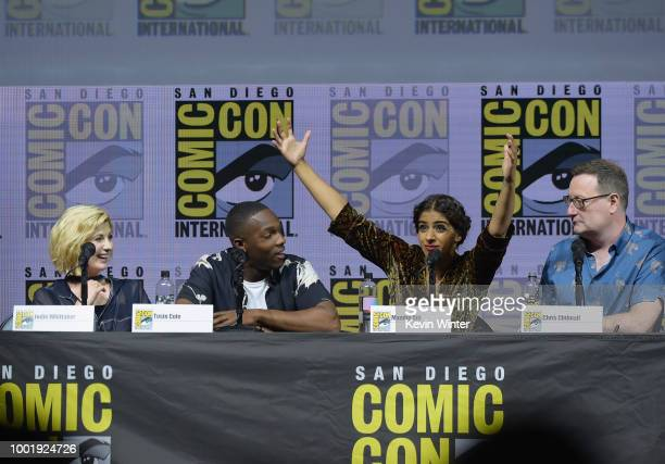 Jodie Whittaker Tosin Cole Mandip Gill and Chris Chibnall speak onstage during the Doctor Who BBC America's Official panel during ComicCon...