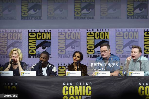 Jodie Whittaker, Tosin Cole, Mandip Gill, Chris Chibnall, and Matt Strevens speak onstage during the Doctor Who: BBC America's Official panel during...