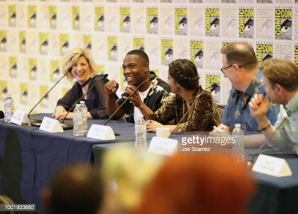 Jodie Whittaker Tosin Cole Mandip Gill Chris Chibnall and Matt Strevens speak onstage during the Doctor Who BBC America's Official panel during...