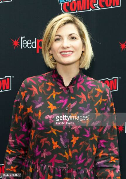 Jodie Whittaker wearing dress by Jeanette attends photocall for Doctor WHO new season during New York Comic Con at Jacob Javits Center