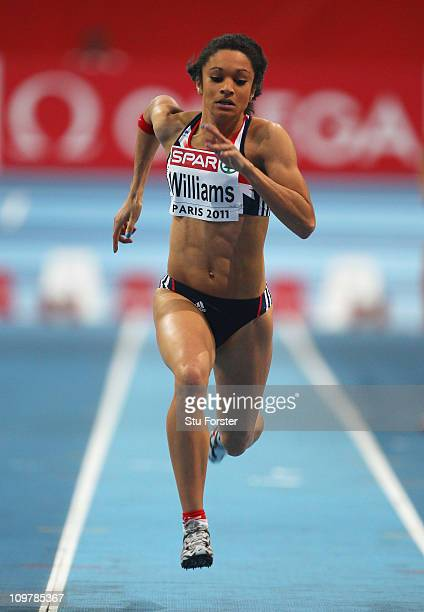 Jodie Williams of Great Britain and Northern Ireland competes in the Women's 60m heat 3 during day 2 of the 31st European Athletics Indoor...
