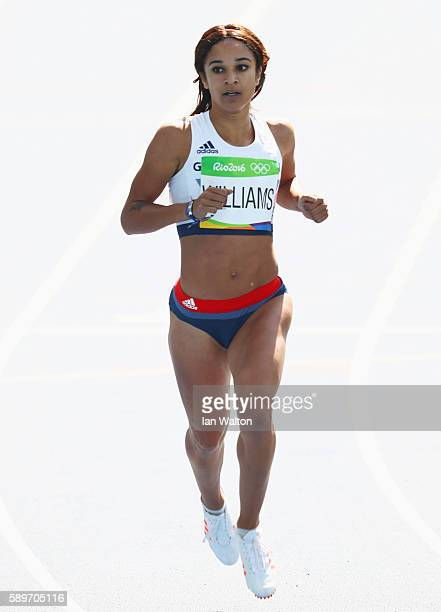 Jodie Williams of Great Britain competes in round one of the Women's 200m on Day 10 of the Rio 2016 Olympic Games at the Olympic Stadium on August 15...